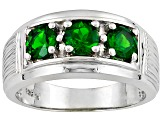 Men's 1.35ctw 5mm Round Green Chrome Diopside Solid Sterling Silver Ring