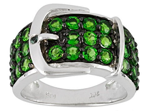 Chrome Diopside, indian Alexandrite Accent .02ctw Round Sterling Silver Buckle Ring