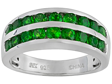 Russian Chrome Diopside 1.20ctw Round Sterling Silver 2-Row Ring