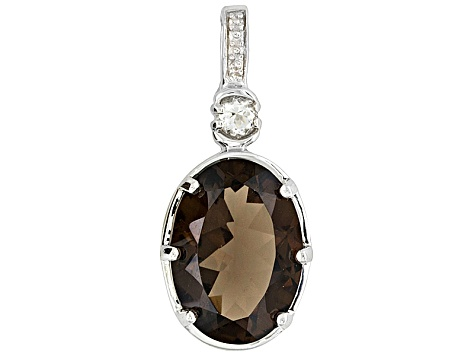Womens Earrings Necklace Ring Set Smoky Quartz White Topaz 18ctw Sterling Silver