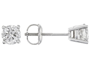 White Diamond 14K White Gold Stud Earrings 1.00ctw