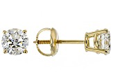White Diamond 14K Yellow Gold Stud Earrings 1.00ctw