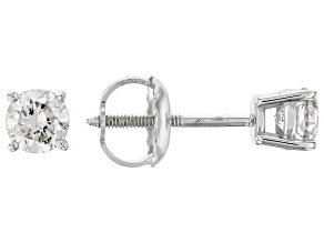 White Diamond 14K White Gold Stud Earrings .50ctw