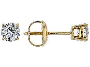Picture of White Diamond 14K Yellow Gold Stud Earrings .50ctw