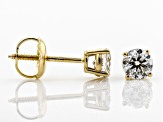 White Diamond 14K Yellow Gold Stud Earrings .50ctw