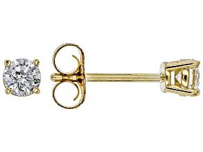 White Diamond 14K Yellow Gold Stud Earrings .25ctw