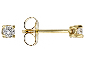 Picture of White Diamond 14K Yellow Gold Stud Earrings .10ctw