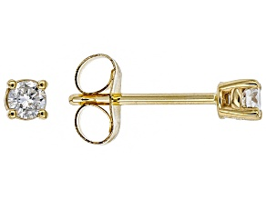 White Diamond 14K Yellow Gold Stud Earrings .10ctw