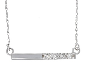 White Diamond 14K White Gold Bar Necklace .15ctw