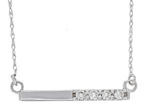 White Diamond 14K White Gold Bar Necklace .15ctw