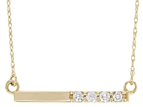White Diamond 14K Yellow Gold Bar Necklace .15ctw
