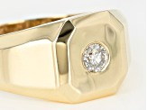 White Diamond 10K Yellow Gold Mens Ring .20ctw
