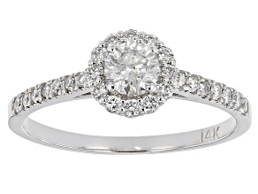 White Diamond 14K White Gold Halo Promise Ring .50ctw