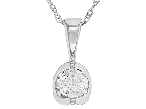 White Diamond 14K White Gold Solitaire Pendant .20ctw
