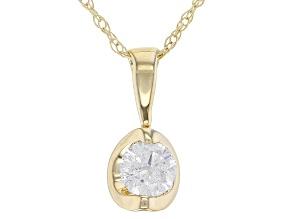 White Diamond 14K Yellow Gold Solitaire Pendant .20ctw