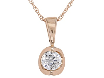 Picture of White Diamond 14K Rose Gold Solitaire Pendant .20ctw