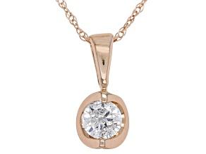 White Diamond 14K Rose Gold Solitaire Pendant .20ctw
