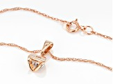 White Diamond 14K Rose Gold Solitaire Pendant .20ctw