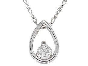 White Diamond 14K White Gold Solitaire Pendant .10ctw