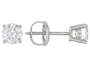 White Diamond 14k White Gold Solitaire Stud Earrings 0.75ctw