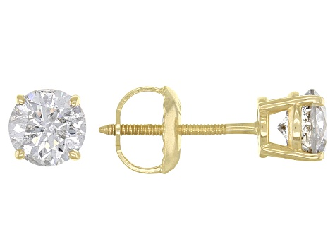 White Diamond 14k Yellow Gold Solitaire Stud Earrings 0.75ctw