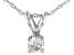 "White Diamond 14k White Gold Pendant With 18"" Rope Chain"