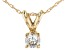 "White Diamond 14k Yellow Gold Pendant With 18"" Rope Chain 0.20ctw"