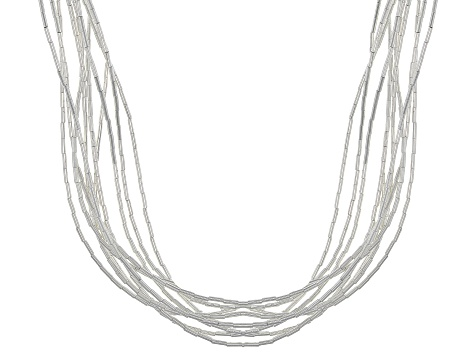 Liquid Silver 10 Strand Necklace 24.5 Inch