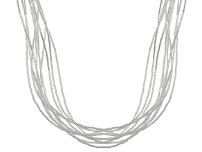 Womens Polished Liquid 10 Strand Necklace Sterling Silver
