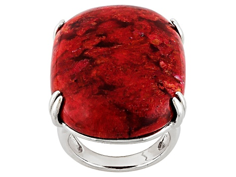 Red Sponge Coral Solitaire Silver Ring