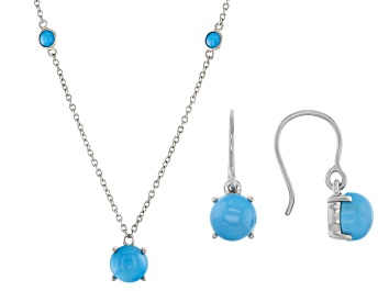 Picture of Turquoise Sleeping Beauty Rhodium Over Sterling  Silver Necklace And Earring Set