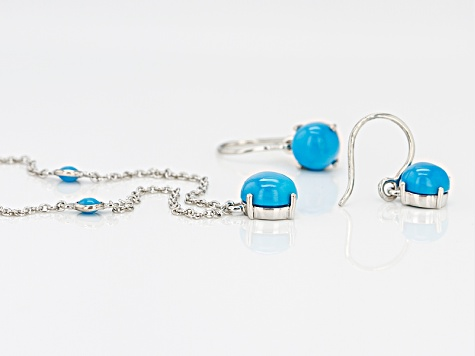 Turquoise sterling silver set Sleeping beauty turquoise Untreated natural turquoise jewelry. Pendant and earrings