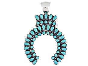 Turquoise Kingman Silver Naja Pendant