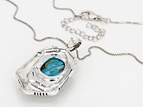 Blue Turquoise Sterling Silver Pendant