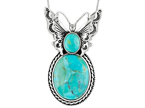 Blue Turquoise Silver Butterfly Pendant With Chain
