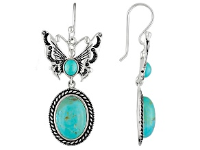 Blue Turquoise Silver Butterfly Earrings