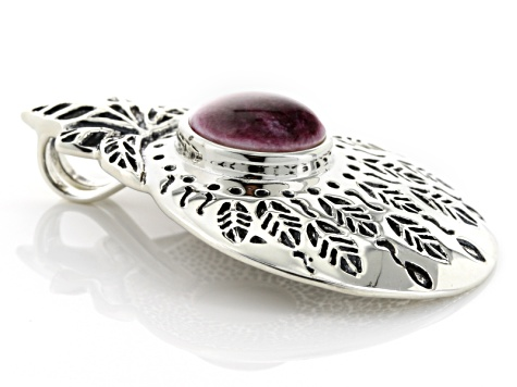 Purple Spiny Oyster Shell Silver Pendant