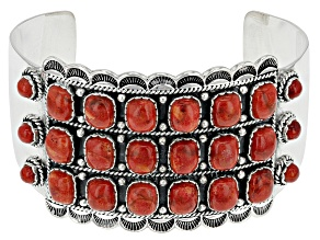 Red Coral Silver Cuff Bracelet