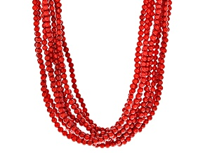 Red Coral Bead Silver Ten-Strand Necklace