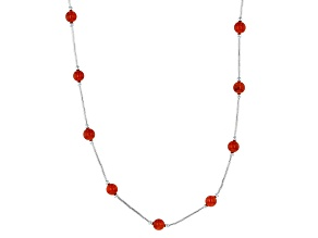 Red Coral Liquid Sterling Silver Necklace