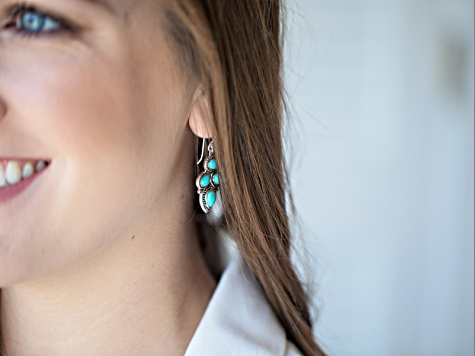 Blue Turquoise Silver Dangle Earrings
