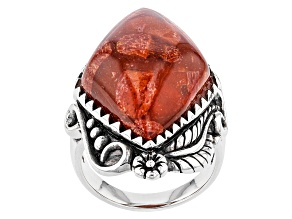 Red Sponge Coral Silver Solitaire Ring
