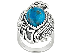 Blue Turquoise Silver Eagle Ring