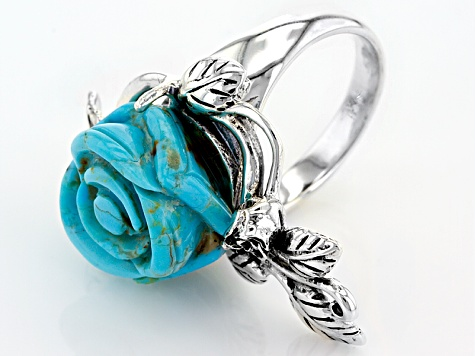 Blue Turquoise Carved Rose Silver Ring