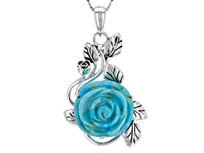 Blue Turquoise Rose Silver Pendant With Chain