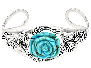 Blue Turquoise Rose Silver Cuff Bracelet