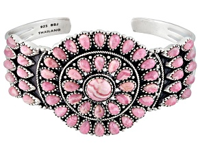 Pink Rhodochrosite Silver Cuff Bracelet