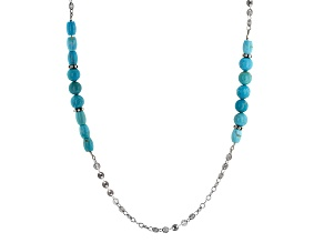 "Blue Turquoise Silver 32"" Necklace"