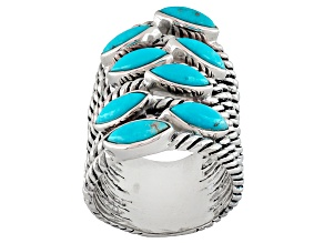Blue Turquoise Silver Elongated 8-Band Ring
