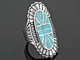 Blue Turquoise Silver inlay Ring